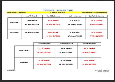 Planning des conseils de classe du 1er trimestre | Derniers articles du site! | Scoop.it