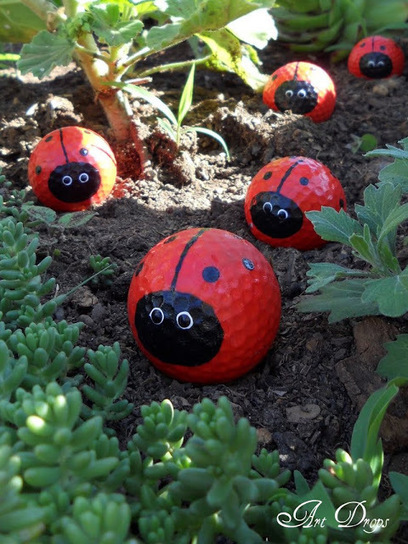 Ladybugs from golf balls | Up cycle car boot finds | Scoop.it