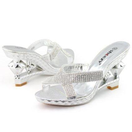 SHOEZY Ladies Metallic Silver Rhinestones Cross Strap Wedge Mule Special Heels Shoes   Wedding Shoes   Scoop.it
