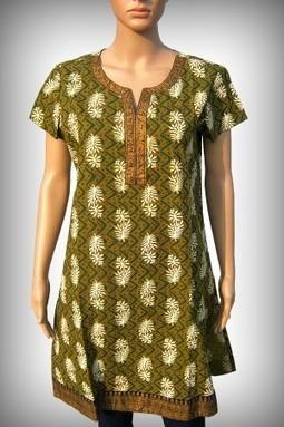 Green Cotton Printed Half Sleeves Kurti S-006F | KURTIS | Scoop.it