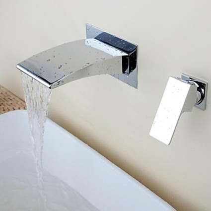 Chrome Contemporary Waterfall Brass Two Holes Single Handle Bathroom Sink Faucet - Faucetsmall.com | Bathroom Sink Faucets or Kitchen Faucets | Scoop.it