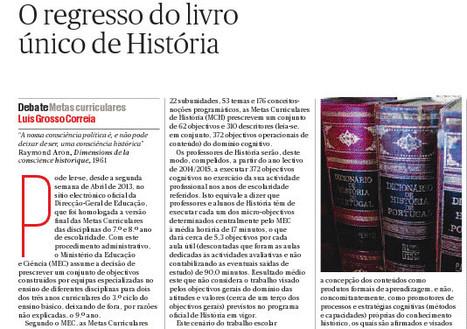 LGC - Regresso do livro único de História - Público 2013.04.21.pdf - GoogleDrive | Didática | Scoop.it