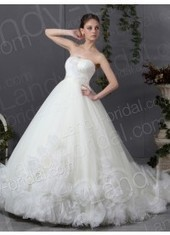 Tulle Strapless Ball Gown Chapel Train Ivory Wedding Dress B13838 for $966 | warmhat | Scoop.it