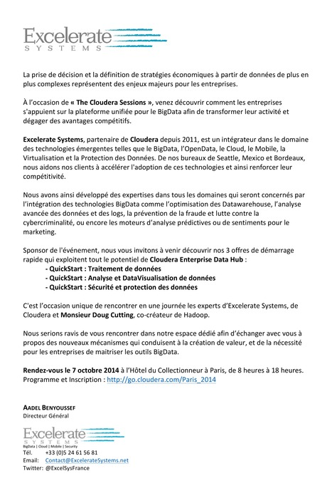Excelerate Systems @ The Cloudera Sessions - Paris le 7-Oct | Mobile - BigData - Cloud - Sécurité - FrenchTech Innovations - TrendTech par Excelerate Systems - France | Scoop.it