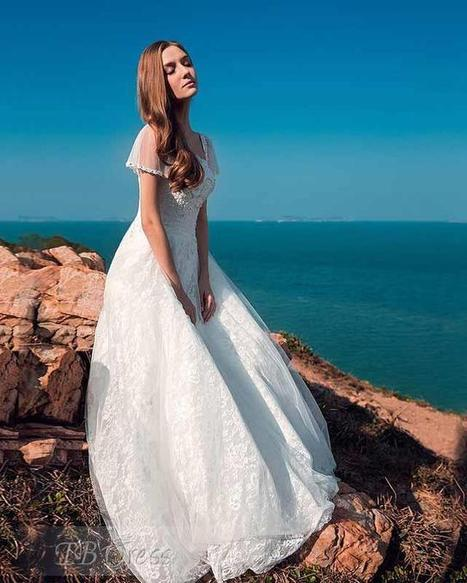 Fluffy A-line Floor-length Square Neck Lace-up Short Sleeves Lace Wedding Dress | a la mode | Scoop.it