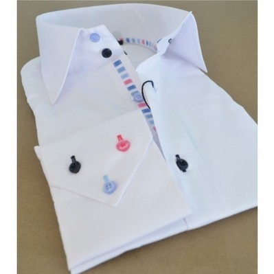 Buy white Men shirt | Slim Fit | blue dark blue and pink buttons | Australia | New Zealand | french shirts | Scoop.it