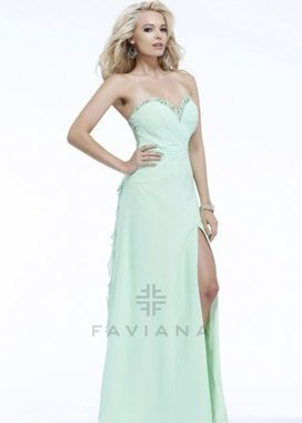 Mint Strapless Sweetheart Faviana 7124 Ruffled Back Evening Gown [Faviana 7124] - $211.00 : www.2014dresstrends.com | prom dresses | Scoop.it