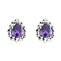 925 Sterling Silver Pear Cut Stud Earrings  - Purple   Jewelry   Scoop.it