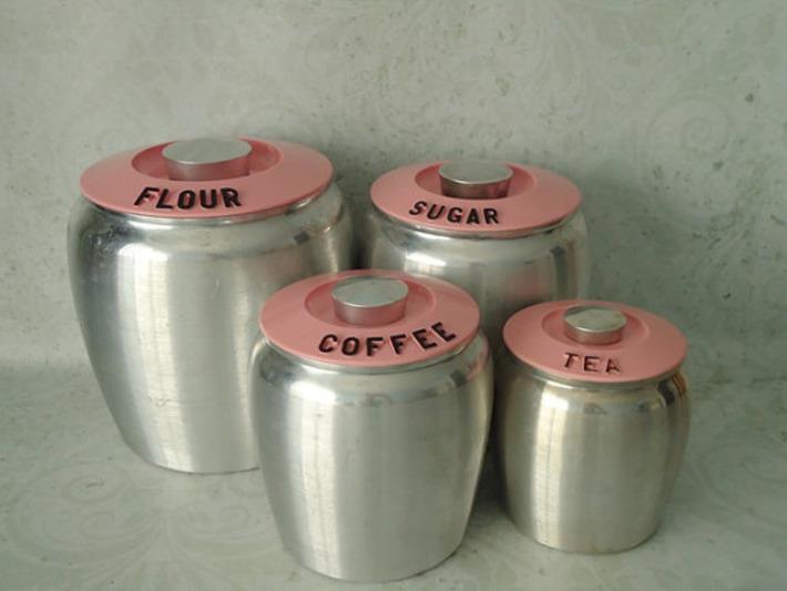 Pink Spun Aluminum Kromex Kitchen Canisters - Vintage Kromex Canisters - Pink Kitchen Canisters | Antiques & Vintage Collectibles | Scoop.it