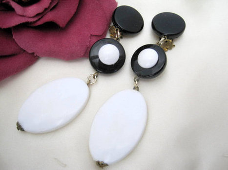 Vintage Western Germany signed Black  White Lucite Dangle Earrings | vintage jewelry | Scoop.it