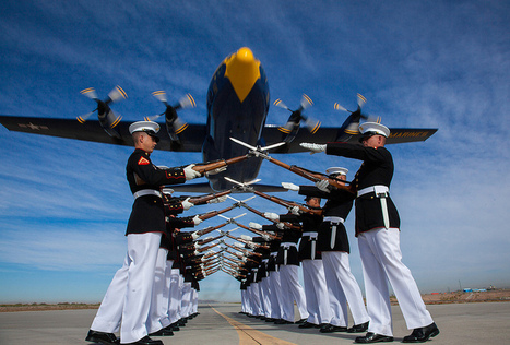 "[Photo] Drill Platoon and Blue Angels ""Fat Albert"" flyby - The Aviationist (blog) 