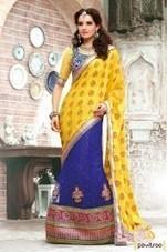 Cobalt Blue and Yellow Lehenga Choli   Pavitraa   Scoop.it