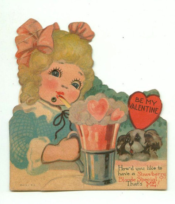Antique Die-Cut Mechanical Valentine Soda Fountain Strawberry Bonde Special | Antiques & Vintage Collectibles | Scoop.it