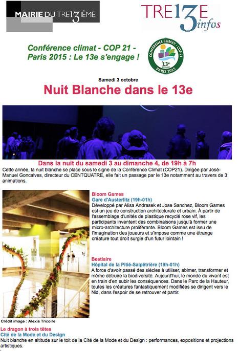 Nuit BLANCHE dans le 13e - Samedi 3 octobre 2015 | Le BONHEUR comme indice d'épanouissement social et économique. | Scoop.it