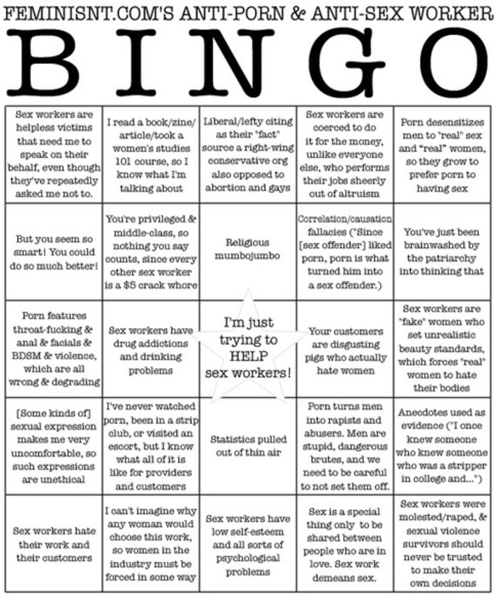 Want to play BINGO with the antis? | Sex Work | Scoop.it