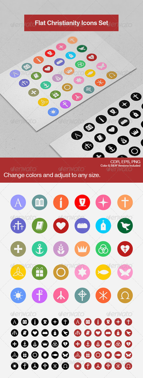 Flat Christianity Icons (Icons) | GFX Database | GFX Download | Scoop.it