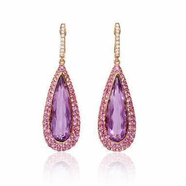 Diamond, Pink Sapphire and Purple Amethyst 18k Rose Gold Dangle Earrings | Exquisite Earrings | Scoop.it