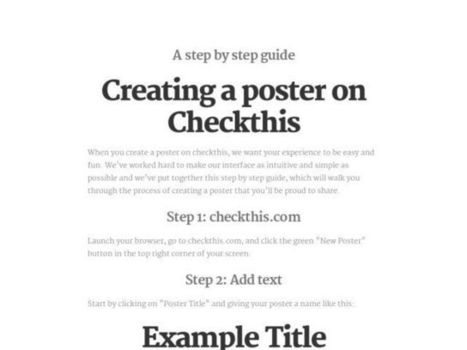 A step by step guide on how to create a poster on Checkthis | Create, Innovate & Evaluate in Higher Education | Scoop.it