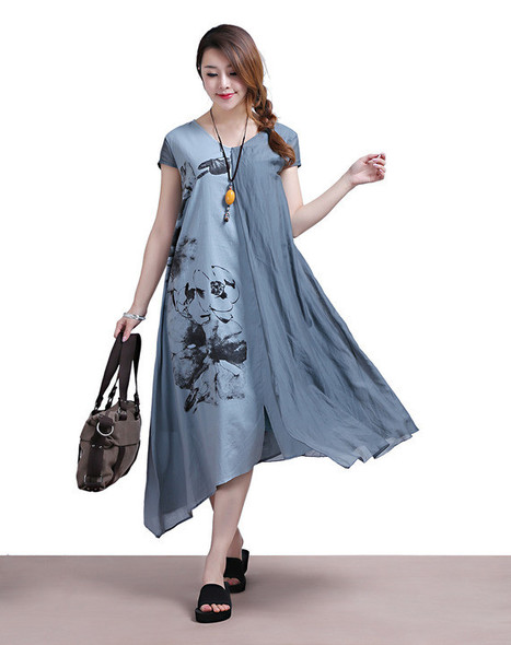 Ink printing temperament short-sleeved blue stitching Irregular dress | Ladies Fashion | Scoop.it