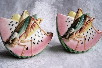Pair of Vintage Watermelon Grasshopper Salt and Pepper Shakers - The Vintage Village | Kitsch | Scoop.it