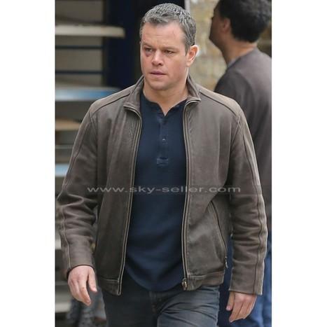 Jason Bourne Matt Damon  Brown Leather Jacket   Sky-Seller : Men Leather Jackets   Scoop.it