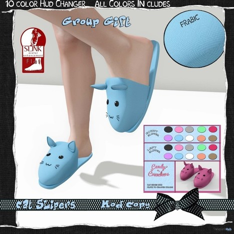 Cat Slippers With HUD Group Gift By Candy Crunchers   Teleport Hub - Second Life Freebies   Second Life Freebies   Scoop.it