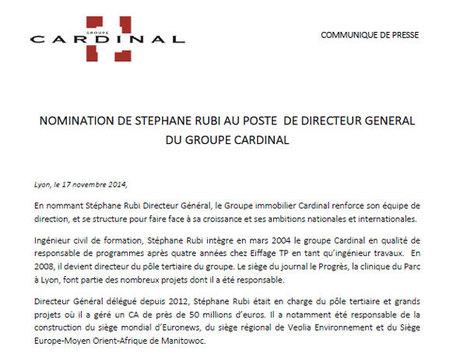 Nomination de Stephane Rubi au poste de Directeur Général du Groupe Cardinal   Jean Christophe Larose   Scoop.it