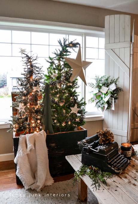 Christmas tree forest in a crate - Day 11 - Funky Junk Interiors | Fun Facts: Pre Lit Artificial Christmas Trees Walmart Has | Scoop.it