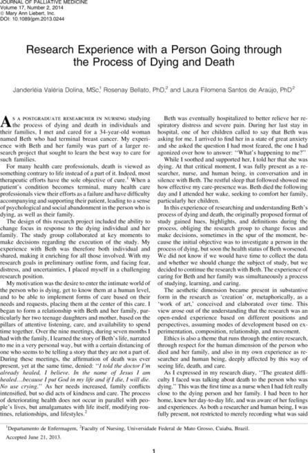 Research Experience with a Person Going through the Process of Dying and Death | Soins Palliatifs [version bêta] | Scoop.it