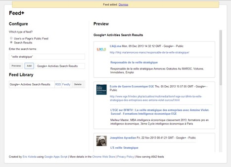 Feed+ : créer un fil RSS pour surveiller un compte ou une recherche Google+ | veiller | Scoop.it