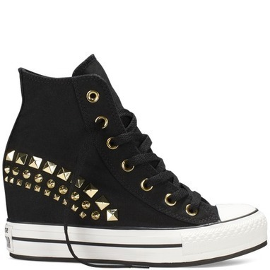 Black Chuck Taylor Platform Wedge Shoes with Gold Studs | Life Chucks! | Chuck Taylor | Scoop.it