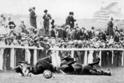 Emily Davison and the King's horse falling to the ground at Epsom Downs ... - Get Surrey   Suffragettes   Scoop.it