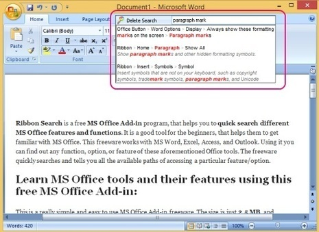 Ribbon Search: Free MS Office Add-in To Quick Search MS Office Features | Time to Learn | Scoop.it