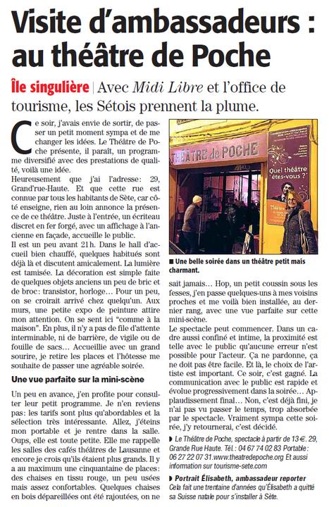 Elisabeth nous parle de sa soirée au théâtre de poche | Sète Tourisme : les ambassadeurs-reporters sur le terrain | Scoop.it