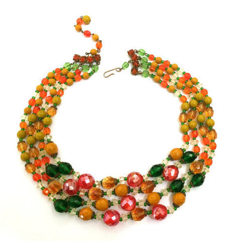 Four Strand Glass Bead Necklace, Orange Green Honey Hyacinth, 1940s 1950s | Vintage Jewelry and Other Vintage Treasures | Scoop.it
