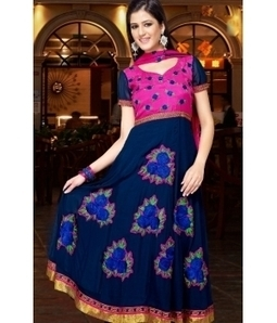 Blue color Anarkali style Georgette designer suit | BLUE COLOR ANARKALI STYLE GEORGETTE DESIGNER SUIT | Scoop.it