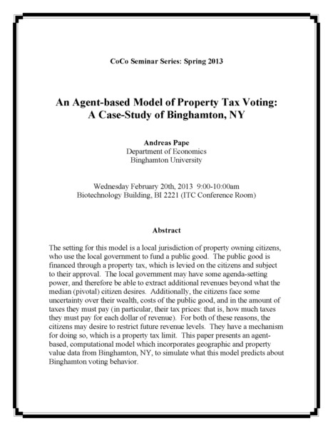 """CoCo Seminar: """"An Agent-based Model of Property Tax Voting: A Case-Study of Binghamton, NY"""" 