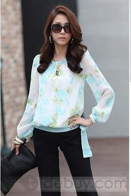 Elegant Pretty Floral Print Chiffon Long Sleeve Blouse | men's fashion | Scoop.it