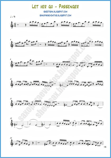 Sheet music of Let Her Go of Passenger | Free sheet music for sax | Sheet music and playalong! Sax, trumpet, clarinet, violin, flute and more | Scoop.it