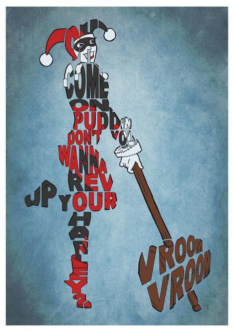 Poster typographie Harley Quinn - Batman, Geek, Idee deco | News geek | Scoop.it