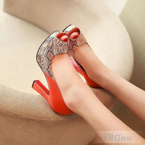 Sexy Red  PU Chunky Heels Platform  Peep Toe Snakeskin Pumps | beauty&fashion clothing | Scoop.it