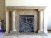 Custom Travertine Mantel at Wilshire Fireplace Shop | Fireplace Glass Doors | Scoop.it