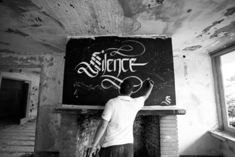 #245 ❘ Calligraphie urbaine  de Simon Silaidis ❘ Silence   le street art   Scoop.it