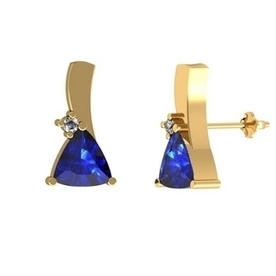 .36ctw Trillion Tanzanite Earring With .01ctw Diamonds in 14k Yellow Gold | Tanzanite Earrings | Scoop.it