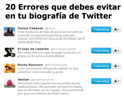 20 Errores que debes evitar en tu biografía de Twitter | Fabian Vargas | Scoop.it