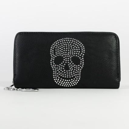 Portefeuille à tête de mort en strass noir ou taupe pour femme   Accessoires de mode femme   Scoop.it