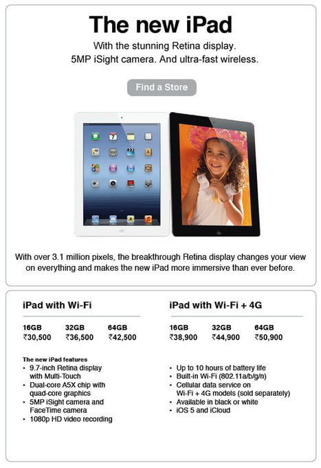 The New iPad 3 Launched In India And 9 Other Countries - China Still In The Waiting List ~ Geeky Apple - The new iPad 3, iPhone iOS 5.1 Jailbreaking and Unlocking Guides | Apple News - From competitors to owners | Scoop.it