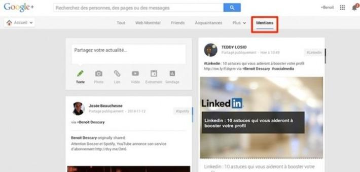 L'onglet Mentions arrive sur la version Web de Google+   TIC et TICE mais... en français   Scoop.it