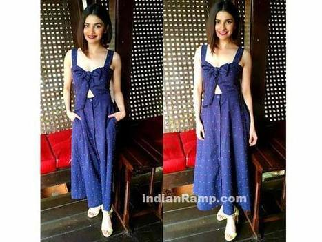 Prachi Desai in H & M Blue Outfit with Sweet Heart Top, Actress, Bollywood, Western Dresses | Indian Fashion Updates | Scoop.it