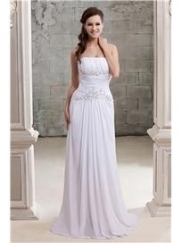 $ 145.99 Fancy Sheath/Column Strapless Sleeveless Chapel Beaded Sandra's Wedding Dress   Fashion women   Scoop.it
